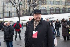 Politician Gennady Gudkov before the opposition March memory Nemtsov Stock Image