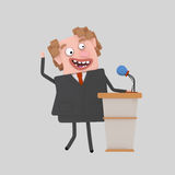 Politician giving a meeting on a pulpit Royalty Free Stock Image