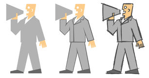 Politician Herald. Cartoon man yelling into the megaphone vector illustration