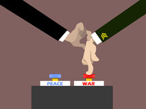 Politician holding military man hand for pressing war button Royalty Free Stock Images