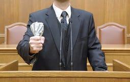 Politician holding money Stock Photography