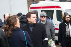 Politician Ilya Yashin at the funeral of Boris Nemtsov Royalty Free Stock Image
