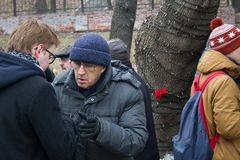 Politician Leonid Gozman at the funeral of Boris Nemtsov Stock Photography