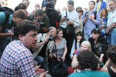 Politician Leonid Volkov at the rally in support of Navalny Royalty Free Stock Photos
