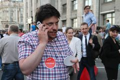 Politician Leonid Volkov at the rally in support of Navalny Royalty Free Stock Photo