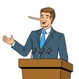 Politican with long nose lies pop art vector Stock Photo
