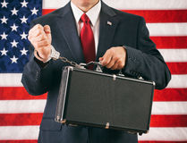Politician: Man Handcuffed To A Briefcase Of Top Secret Informat Royalty Free Stock Photos