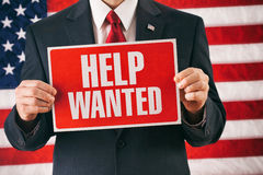 Politician: Man Holding Help Wanted Sign Stock Images