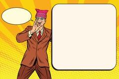 Politician man in a hat campaigning. Retro pop art comic vector illustration vector illustration