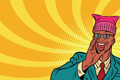 Politician man in a hat campaigning. Retro pop art comic vector illustration. African American people vector illustration