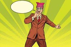 Politician man in a pussyhat campaigning. Retro pop art comic vector illustration stock illustration