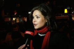 Politician Maria Gaidar comments to the media Royalty Free Stock Photos