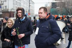 Politician Nikolay Lyaskin one of organizers of oppositional march of memory of Boris Nemtsov Stock Photo