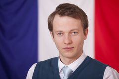 Politician over france flag Royalty Free Stock Image