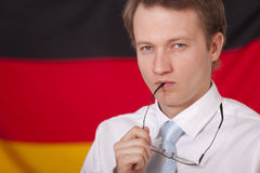 Politician over german flag Royalty Free Stock Photos