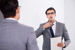 The politician planning speach in front of mirror. Politician planning speach in front of mirror royalty free stock image