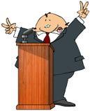 Politician At A Podium. This illustration depicts a politician speaking at a podium Stock Image