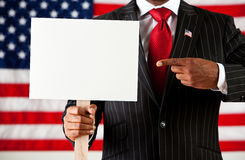 Politician: Pointing to Blank Sign Stock Image