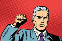 Politician protest solidarity gesture up fist activist. Pop art retro vector. They will not pass the gesture of the Communist international Stock Image