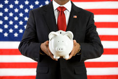 Politician: Saving Money in a Bank for the Future Stock Photo