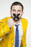 Politician sealed his mouth calls for rebellion Royalty Free Stock Images