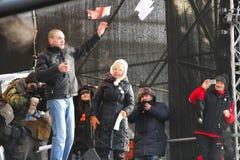Politician Sergei Udaltsov tore the portrait of Stock Photography