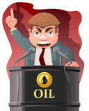 Politician speak from oil barrel. Cartoon styled vector illustration. Elements is grouped and divided into layers royalty free illustration