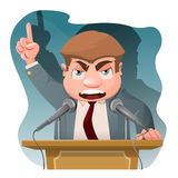 Politician speak from tribune. Cartoon styled vector illustration. Elements is grouped and divided into layers Stock Photos