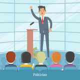 Politician Speaks to Audience from Tribune. Vector Royalty Free Stock Image