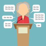 Politician with speech bubbles. Blah blah politician. Concept of lie on debates or president election. Blank template face with speech bubbles. Female speaker Royalty Free Stock Photo