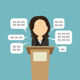 Politician with speech bubbles. Blah blah politician. Concept of lie on debates or president election. Blank template face with speech bubbles. Woman speaker Royalty Free Stock Photography