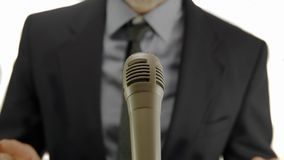 Politician speech microphone Royalty Free Stock Image