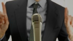 Politician speech microphone stock footage