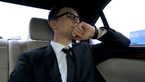 Politician stuck in traffic jam, late for important meeting, big city life. Stock photo royalty free stock photography