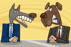 Politicians debate. Cartoon illustration of two antagonist politicians debate vector illustration