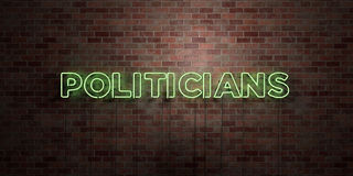 POLITICIANS - fluorescent Neon tube Sign on brickwork - Front view - 3D rendered royalty free stock picture Stock Photo