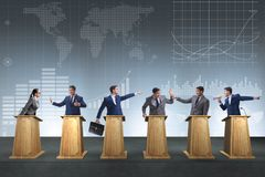 The politicians participating in political debate. Politicians participating in political debate royalty free stock image