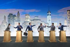 The politicians participating in political debate. Politicians participating in political debate stock photo