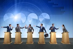 The politicians participating in political debate. Politicians participating in political debate Royalty Free Stock Photography