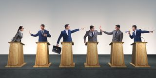 The politicians participating in political debate Stock Photo