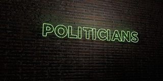 POLITICIANS -Realistic Neon Sign on Brick Wall background - 3D rendered royalty free stock image Royalty Free Stock Photo