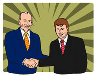 Politicians shaking hands. Illustration showng a salesman or politician sealing a deal royalty free illustration