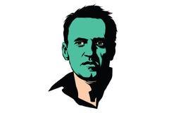 Politicien Alexei Navalny avec un visage vert Images libres de droits