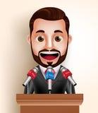 Politicien heureux Man de caractère de vecteur ou orateur avec l'entrevue de presse de media Photographie stock