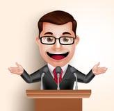 Politicien heureux Man de caractère de vecteur ou orateur dans la parole de conférence Photos libres de droits