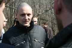 Politicien Sergei Udaltsov lors de la réunion des défenseurs de la forêt de Khimki Photo stock