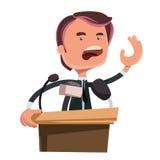 Politico che dà il personaggio dei cartoni animati dell'illustrazione di discorso Fotografie Stock Libere da Diritti