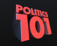 Politics 101. 3D, red text zooming forward announcing Politics 101 Stock Image