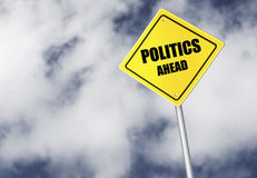Politics ahead sign Stock Photos