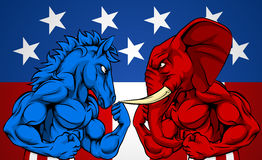 Politics American Election Concept Donkey vs Elephant. A blue donkey and red elephant fighting. American politics election concept with animal mascots of the Royalty Free Stock Photos